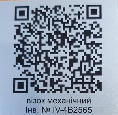 qr-код на металлической табличке